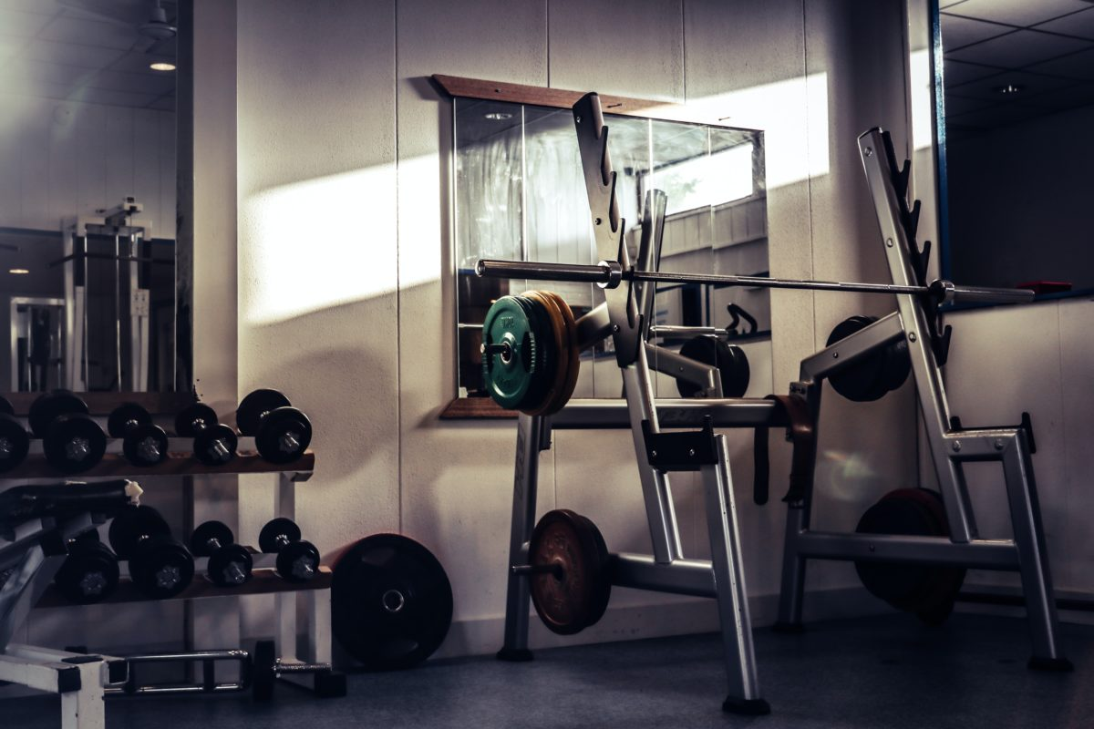 barbell on rack